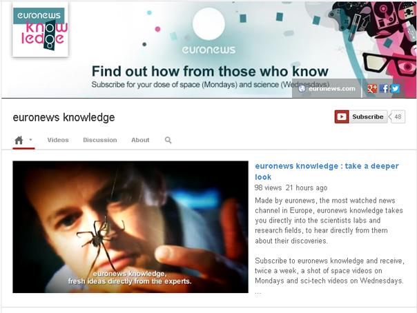 Euronews lansează pe YouTube un canal pentru informații științifice