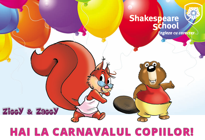 Distracție în engleză la Carnavalul Copiilor cu Ziggy și Zaggy