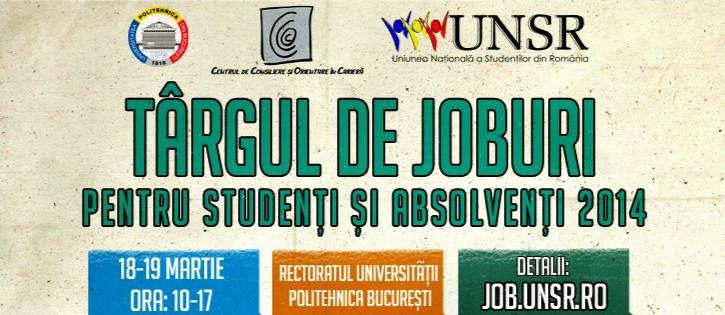 """Uniunea Națională a Studenților din România te invită la """"Târgul de joburi pentru studenți și absolvenți 2014"""""""