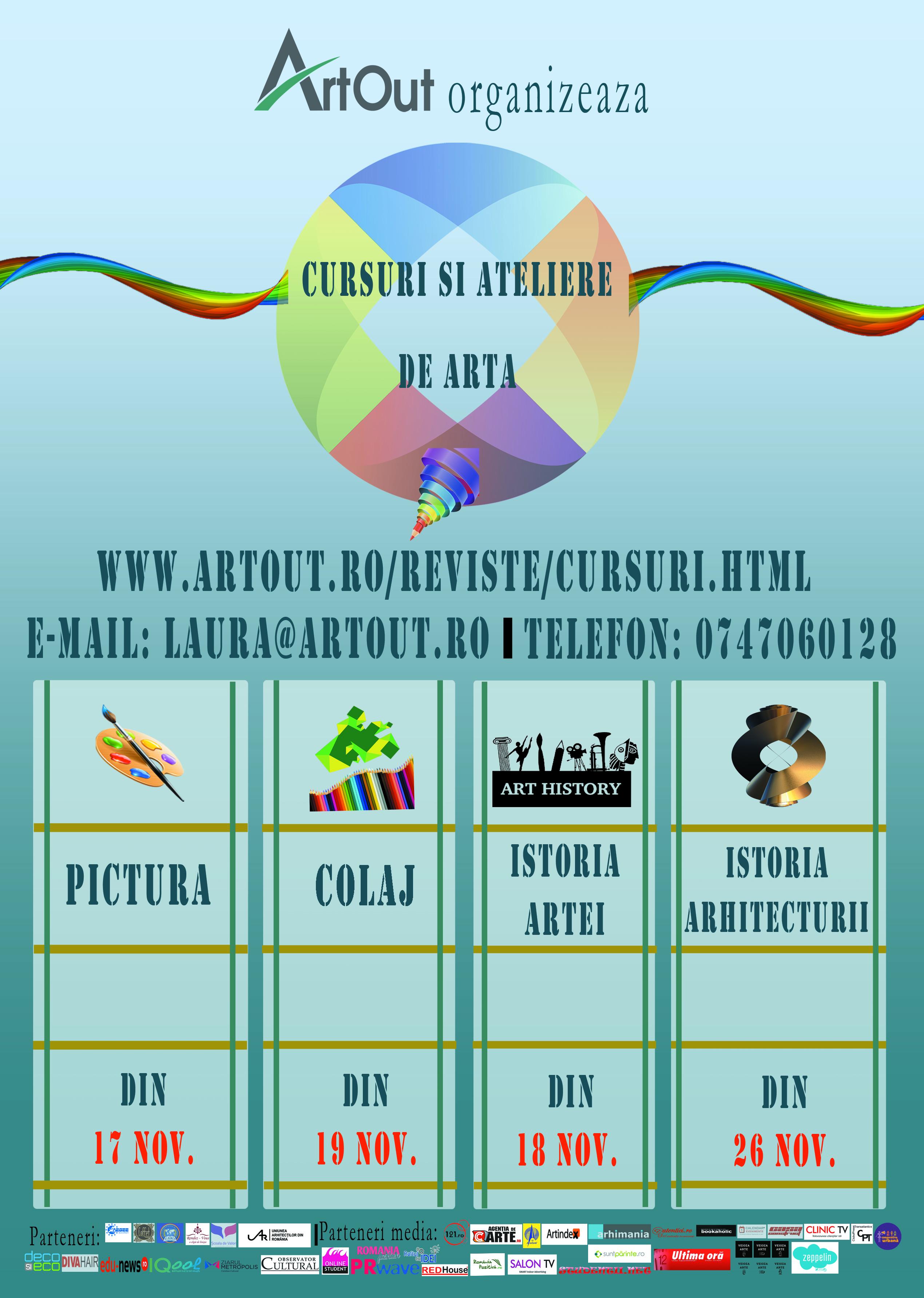 Art Out organizează cursuri și ateliere de artă în perioada noiembrie-decembrie 2014