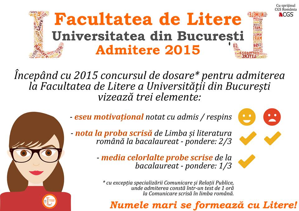Facultatea de Litere a Universității din București anunță modificări ale Admiterii 2015