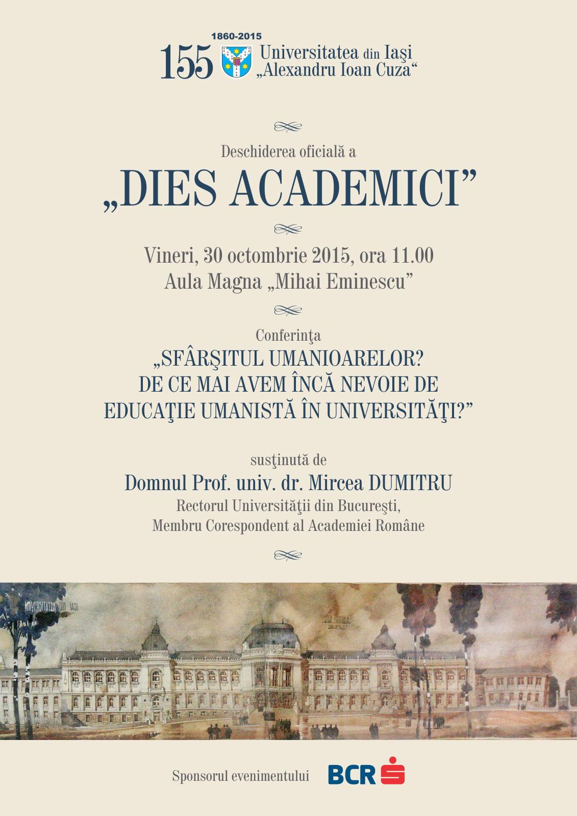 """Universitatea """"Alexandru Ioan Cuza"""" sărbătorește  155 de ani de la înființare"""