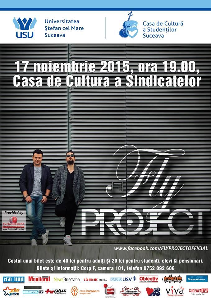 Fly Project va susține un concert la Casa de Cultură a Sindicatelor din Suceava