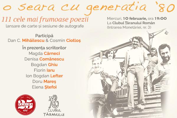 Poezia cucerește orașul: o seară cu Generația 80 la Clubul Țăranului Român