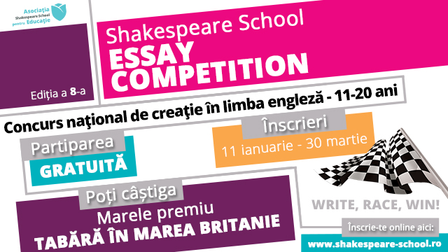 Număr record de înscrieri la a 8-a ediție  Shakespeare School Essay Competition