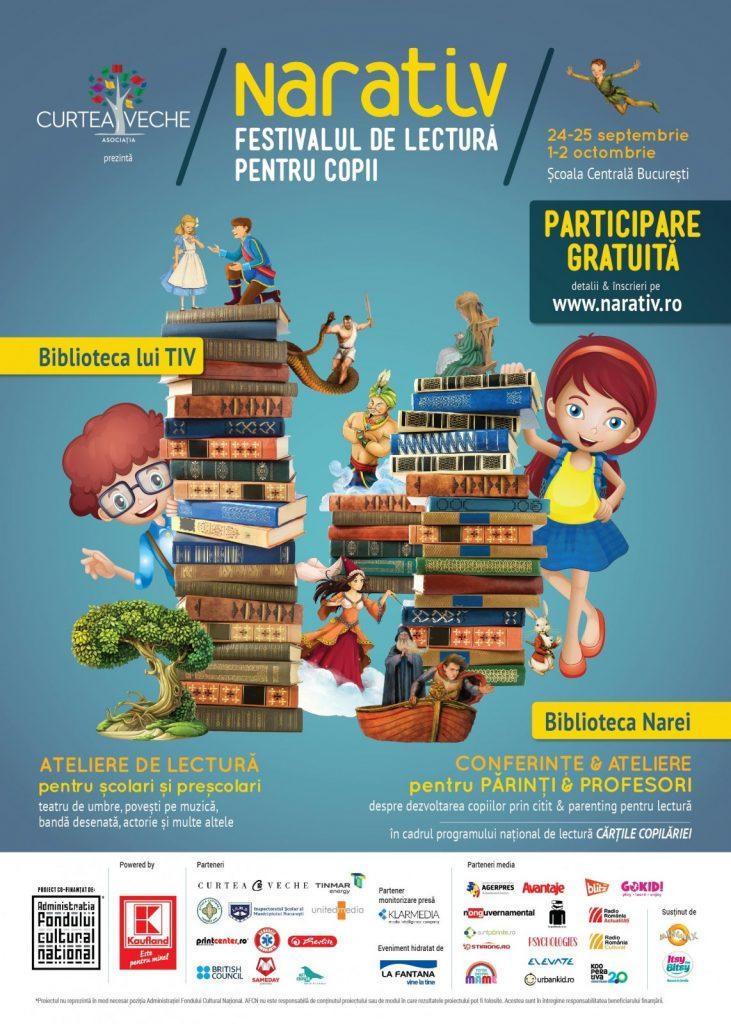 Încep înscrierile la NARATIV – festivalul pentru copii care promovează cititul din plăcere!