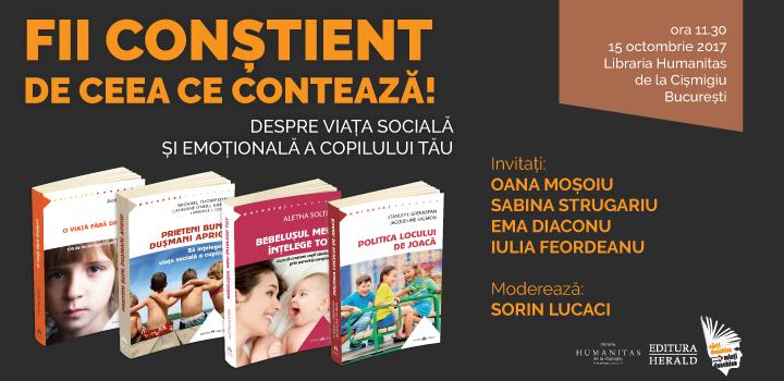 """Fii conștient de ceea ce contează! Despre viața socială și emoțională a copilului tău – eveniment  în cadrul campaniei naționale """"Te așteptăm în librărie!"""""""