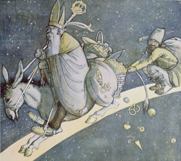 St. Nicholas on his Donkey, 19th century Dutch illustration with details