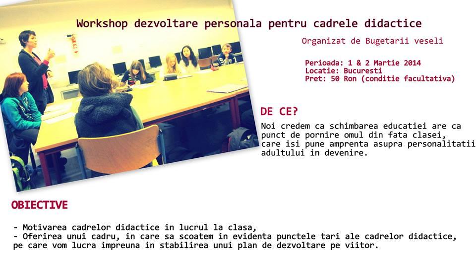 De Mărțișor cadrele didactice sunt invitate la un workshop de dezvoltare personală