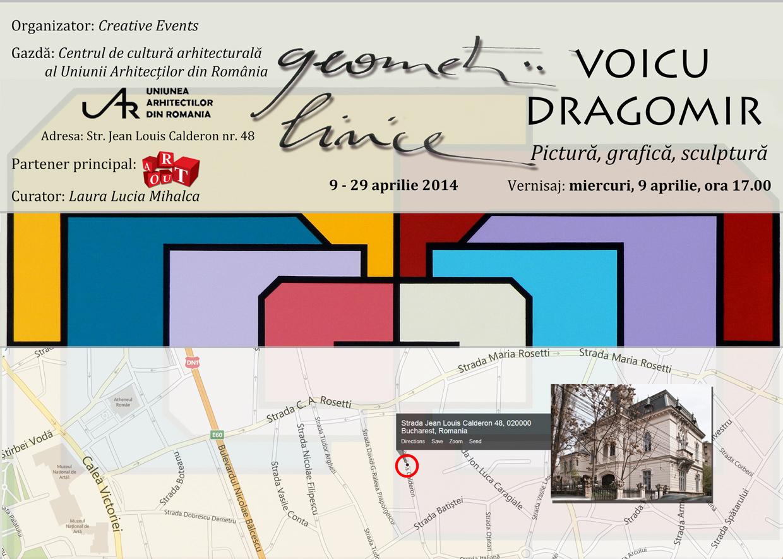 """Art Out vă invită la Expoziția de arte plastice """"Geometrii lirice"""" – Voicu Dragomir"""