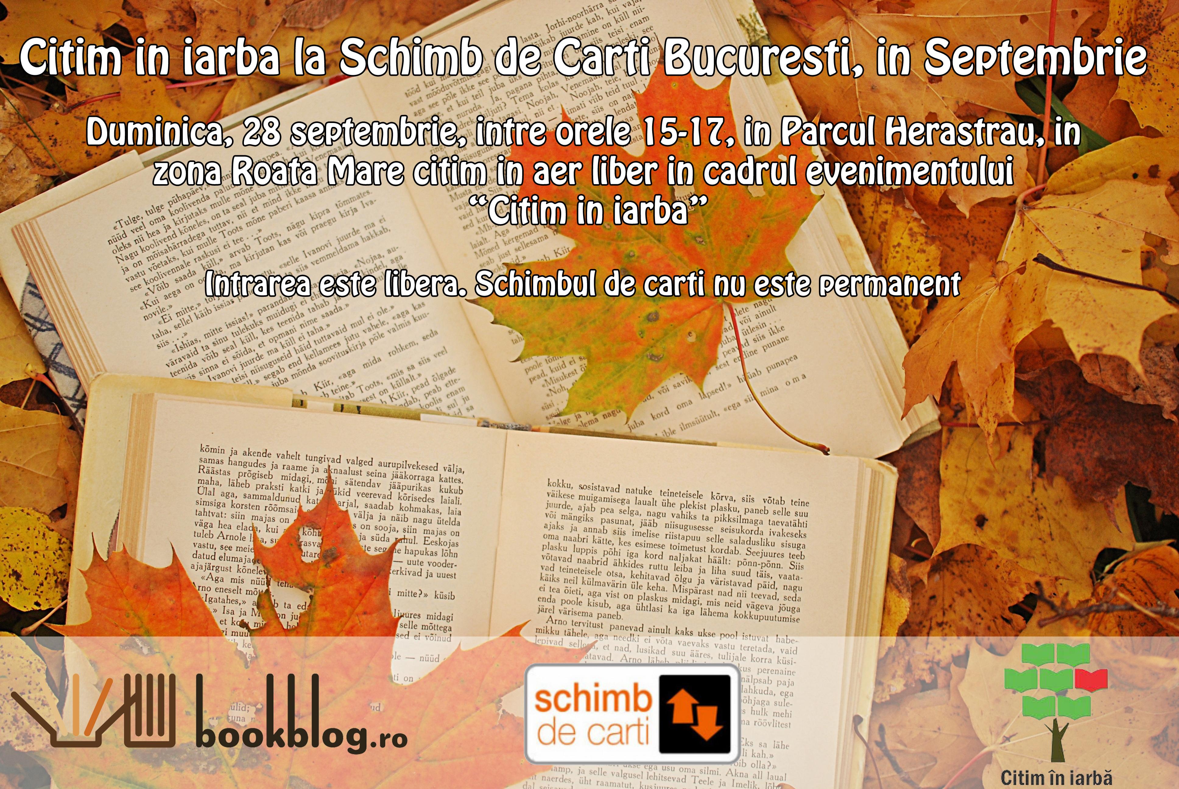 Schimb de Cărți București vă invită în septembrie să Citim în iarbă