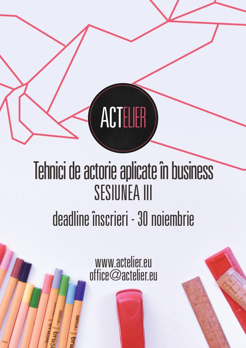 Actelier, singurul curs de actorie pentru oameni de afaceri, începe în decembrie