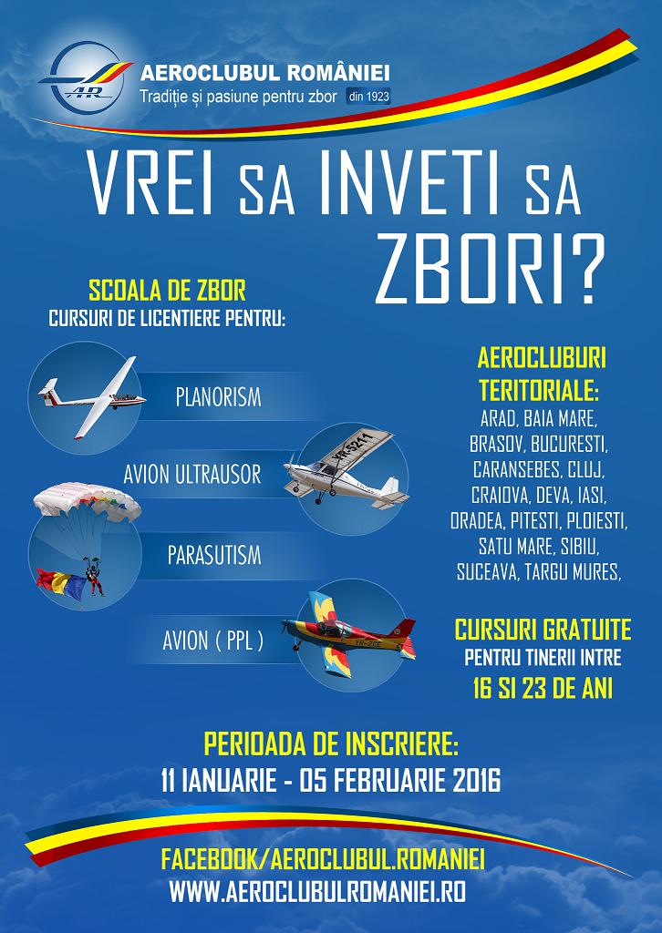 Cursuri gratuite de pilotaj și de parașutism, pentru tineri între 16 și 23 de ani