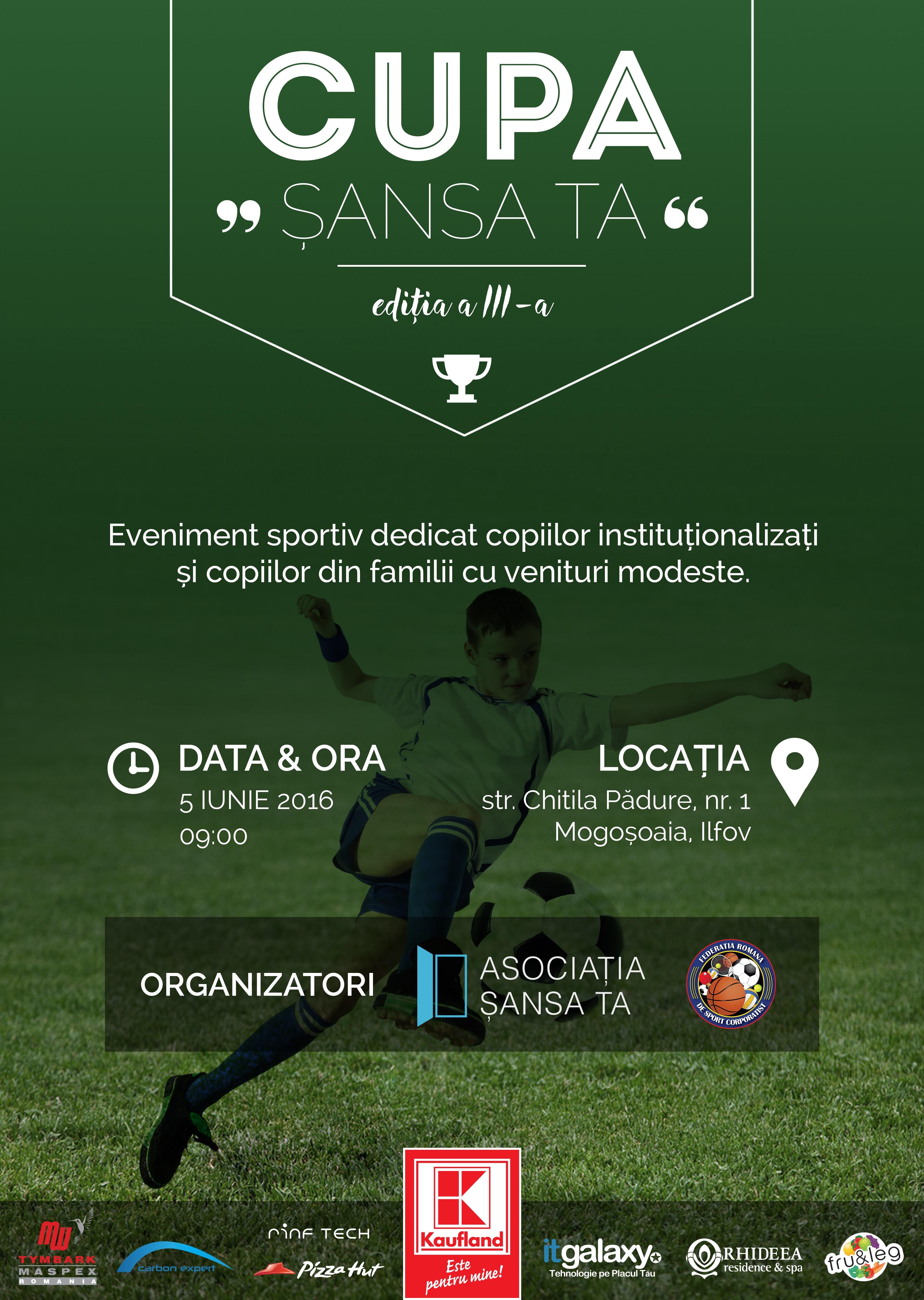 Competiție de fotbal pentru copiii orfani și din familii modeste: Cupa Șansa Ta a ajuns la a treia ediție